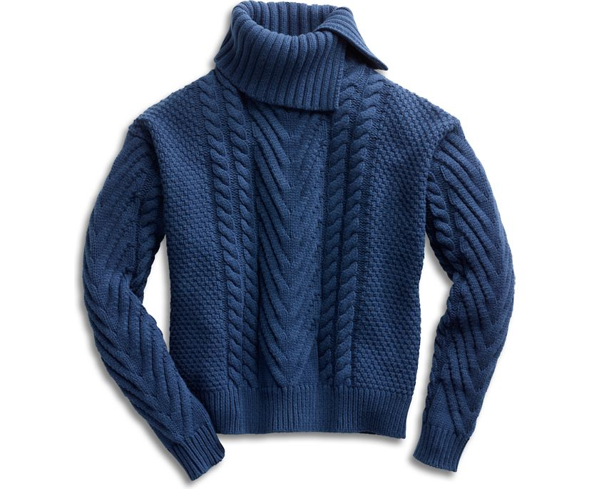 Cable Knit Sweater, Navy, dynamic