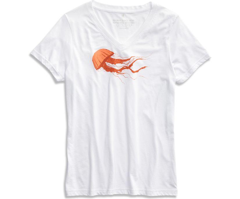Medusa Jellyfish T-Shirt, White/Orange, dynamic