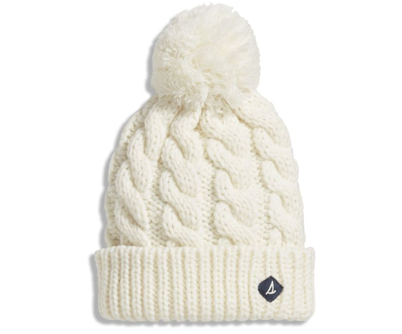 Cable Beanie, Ivory, dynamic