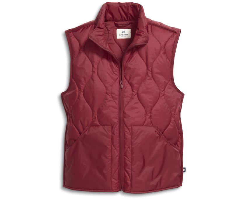 Quilted Vest, Maroon, dynamic