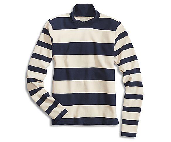 Mock Neck Shirt, Oatmeal/Navy, dynamic