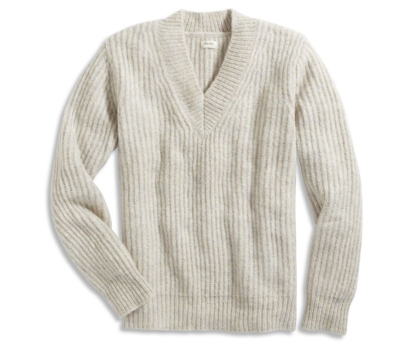 V-Neck Sweater, Aspen Grey, dynamic
