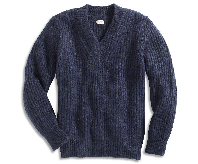 V-Neck Sweater, Navy, dynamic