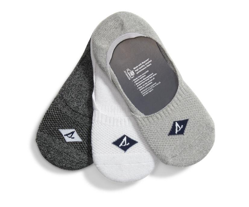 Boat Shoe 3-Pack Liner Sock, Grey, dynamic
