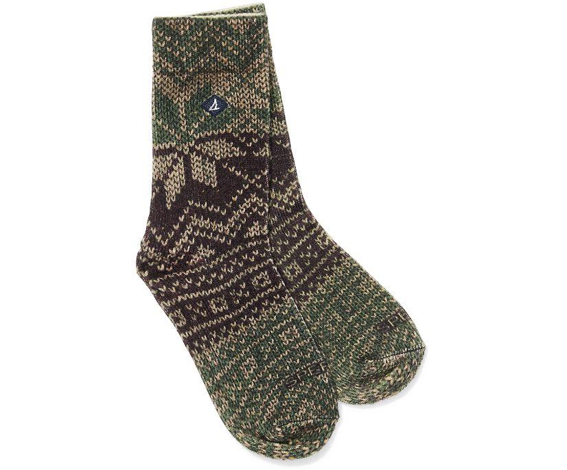 Printed Wool Cushion Crew Sock, Fig, dynamic