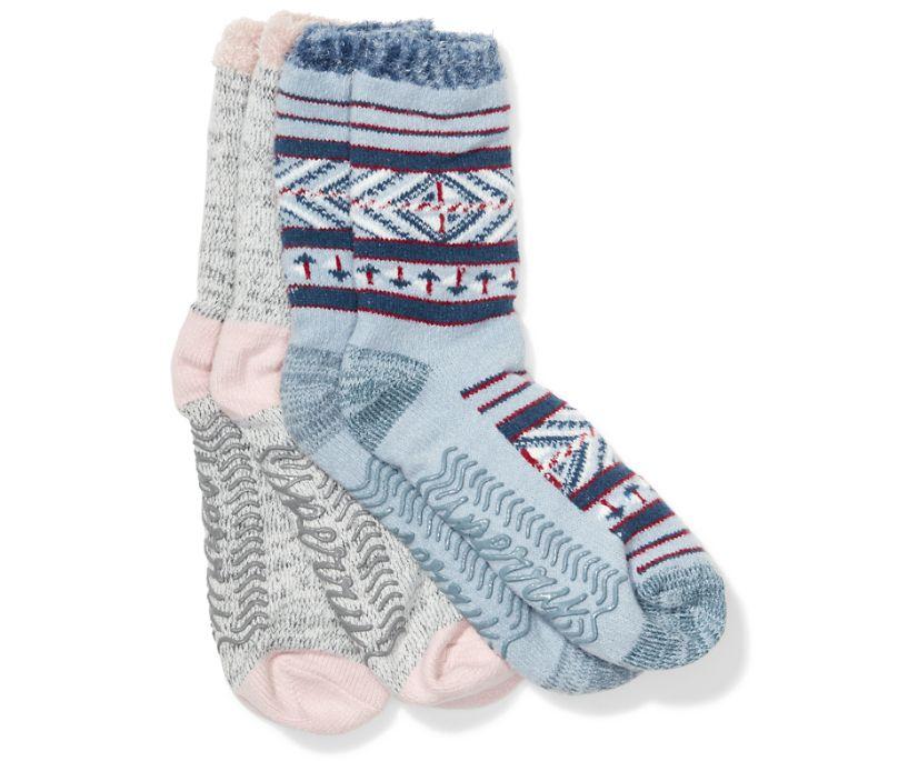 Cabin Cozy Crew 2-Pack Sock, Dusty Blue, dynamic