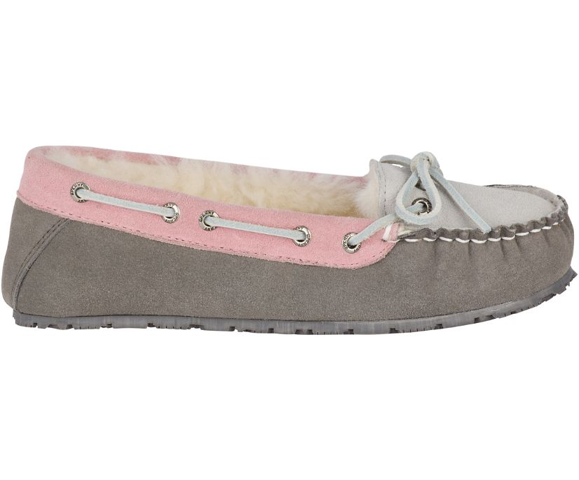 Shearling Slipper, Grey/Pink, dynamic