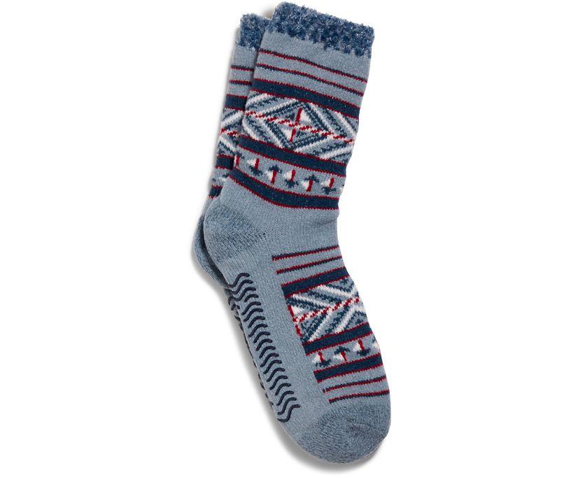 Cabin Cozy Crew Sock, Dusty Blue, dynamic