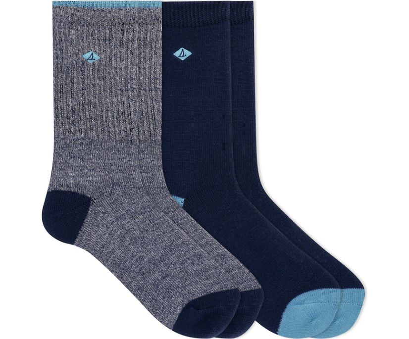 Marl Tipped 2-Pack Boot Crew Sock, Navy, dynamic