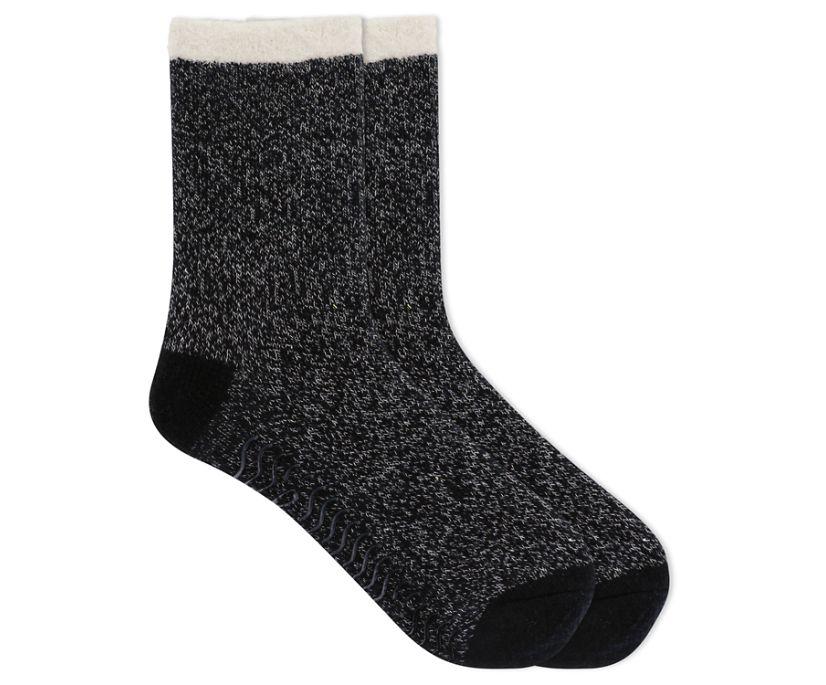 Cable Knit Cabin Cozy Sock, Black, dynamic