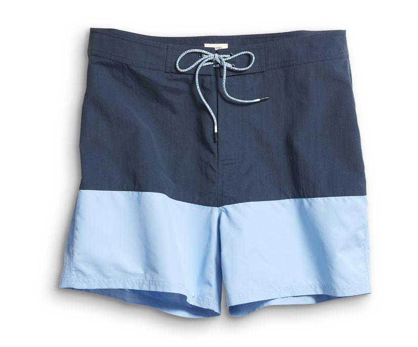 Retro Colorblock Boardshort, Navy/Light Blue, dynamic
