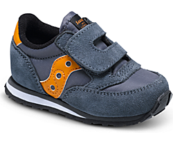 Baby Jazz Hook & Loop Sneaker, Grey/Orange, dynamic