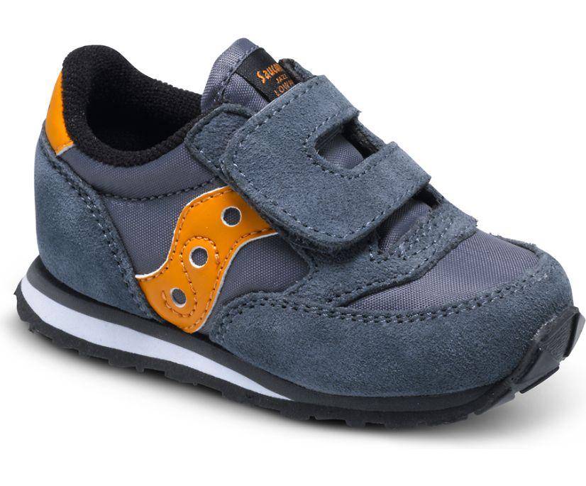 Baby Jazz Hook & Loop Sneaker, Grey/Orange, dynamic