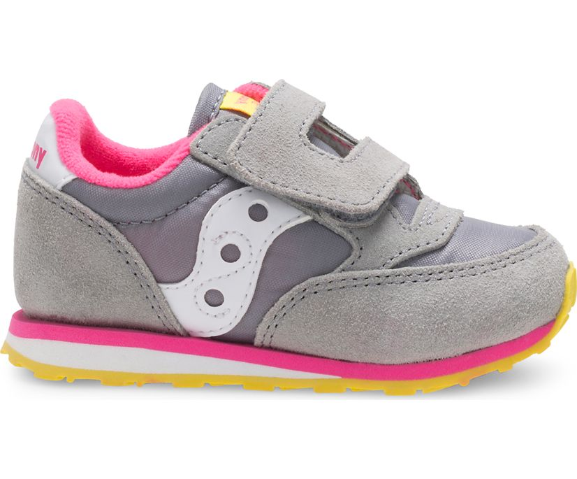 Baby Jazz Hook & Loop Sneaker, Grey / Pink, dynamic