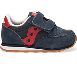 Baby Jazz Hook & Loop Sneaker, Navy / Red, dynamic