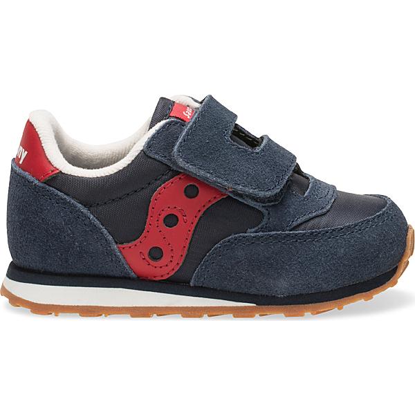 Baby Jazz Hook & Loop Sneaker, Navy / Red, dynamic