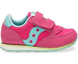 Baby Jazz Hook & Loop Sneaker, Pink/Turq/Lime, dynamic