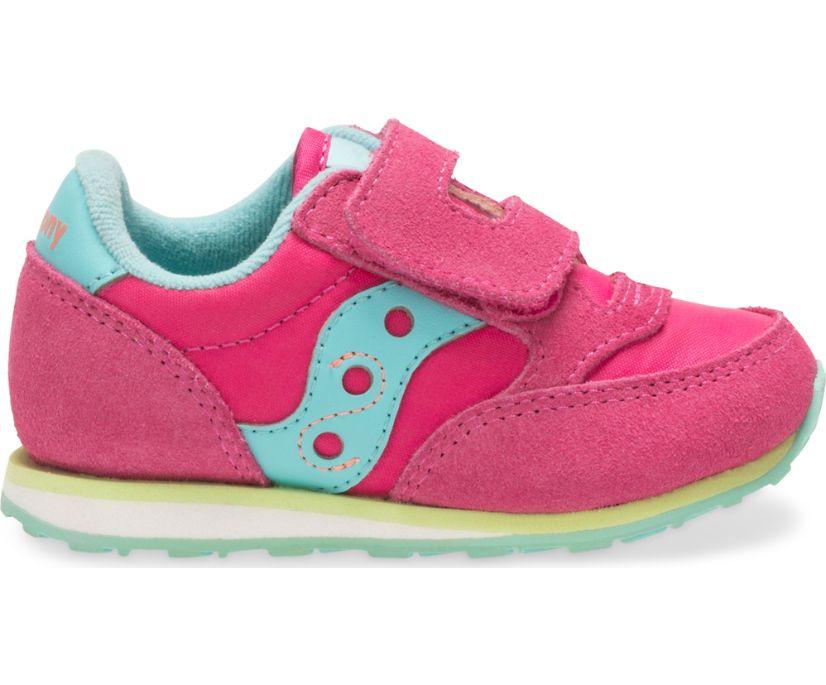 Baby Jazz Hook & Loop Sneaker, Pink/Turq/Lime, dynamic