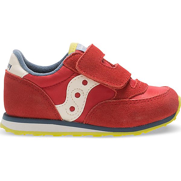 Baby Jazz Hook & Loop Sneaker, Red/Blue/Lime, dynamic