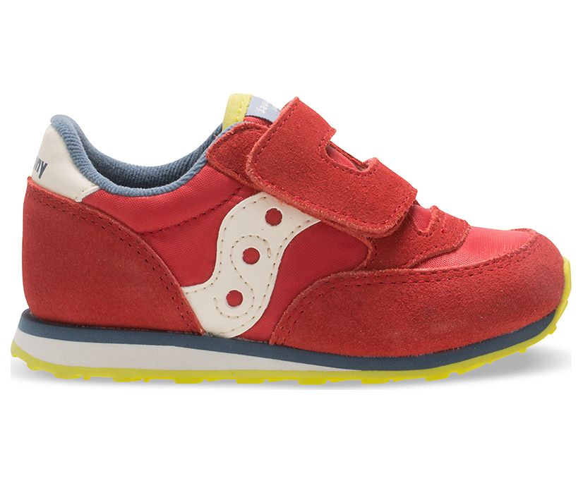 Baby Jazz Hook & Loop Sneaker, Red/Blue/Lime, dynamic