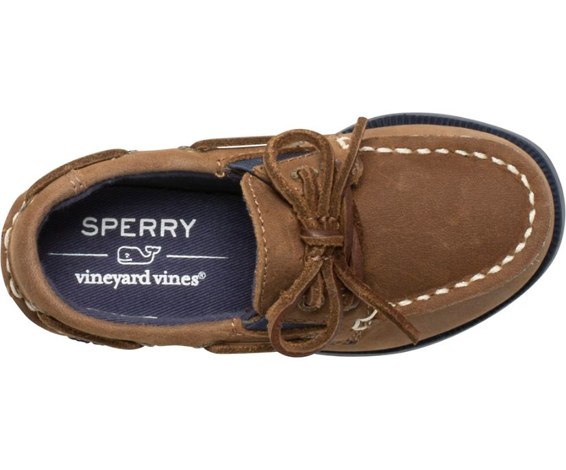 Sperry x vineyard vines Authentic Original Slip On Boat Shoe, Sahara/Navy, dynamic