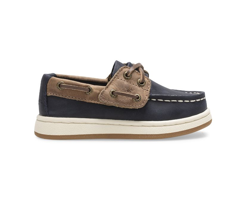 Sperry Cup II Junior Boat Shoe, Navy/Tan, dynamic