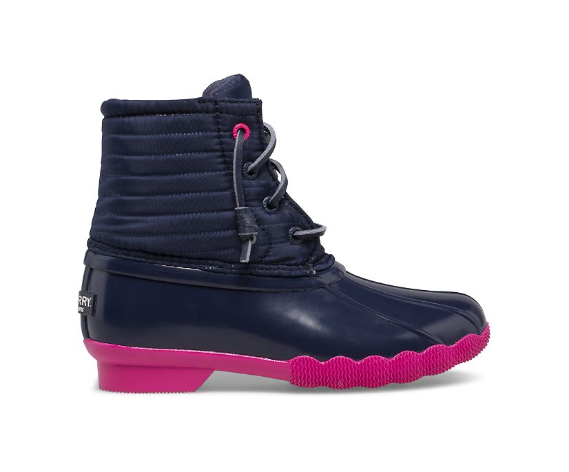 Saltwater Duck Boot, Navy/Pink, dynamic