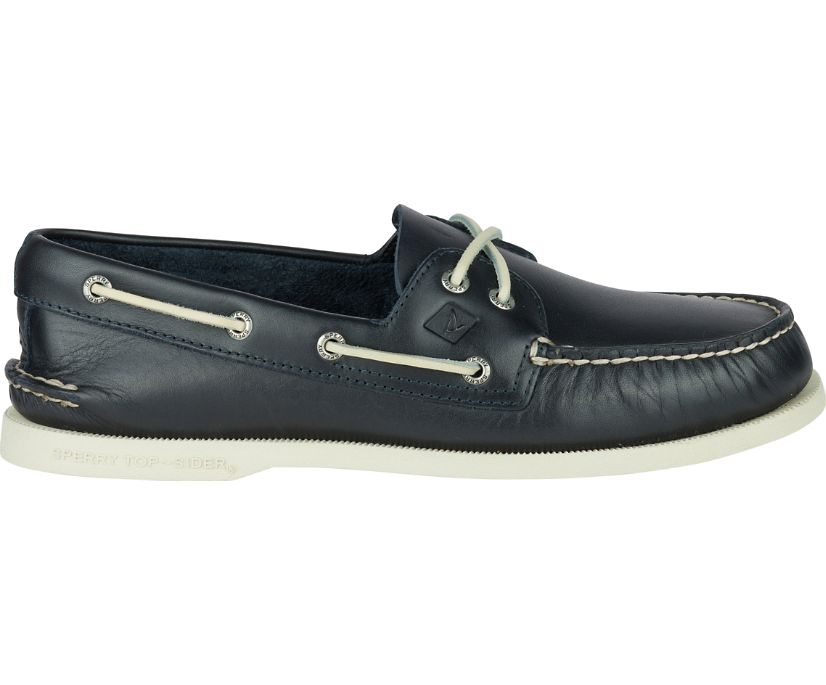 Authentic Original Leather Boat Shoe, Navy, dynamic