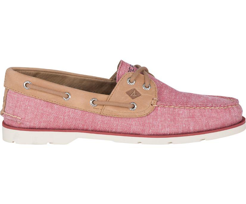 Leeward Chambray Boat Shoe, Red, dynamic