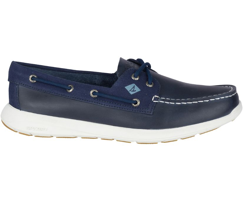 Sojourn Leather Boat Shoe, Navy/Taupe, dynamic