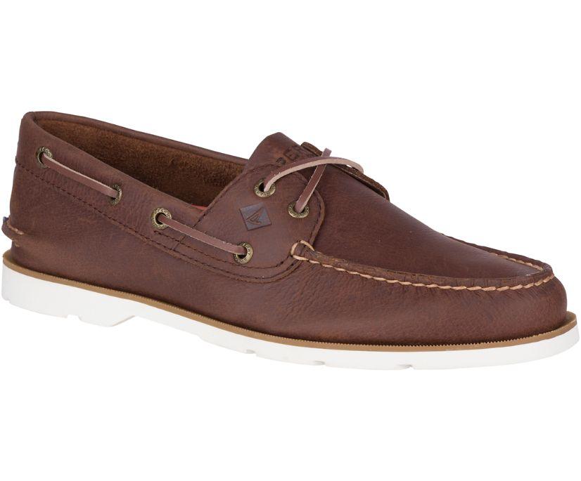 Leeward Nautical Cross Lace Boat Shoe, Brown, dynamic