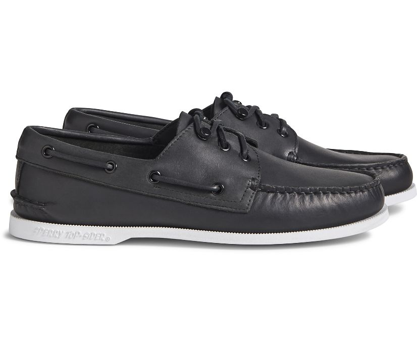 Cloud Authentic Original 3-Eye Leather Boat Shoe, Black, dynamic