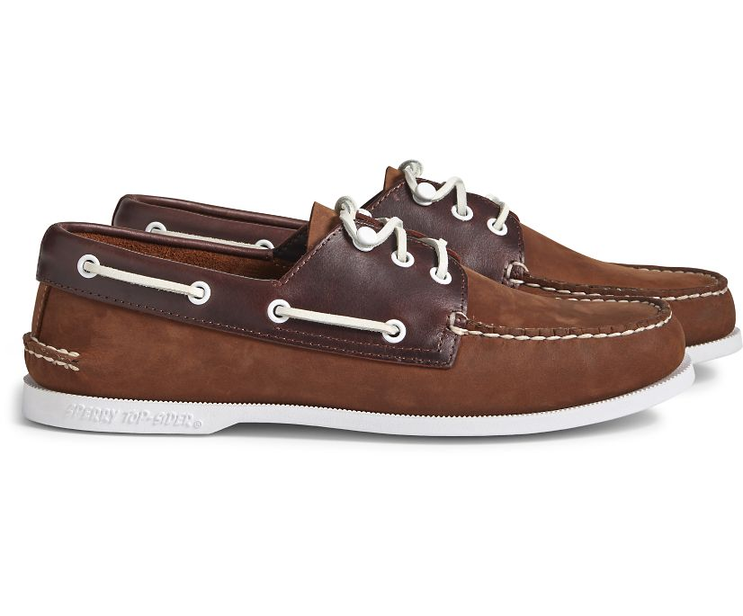 Cloud Authentic Original 3-Eye Leather Boat Shoe, Brown Buc Brown, dynamic