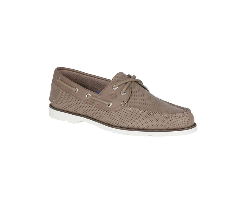 Leeward Perforated Boat Shoe, Taupe, dynamic