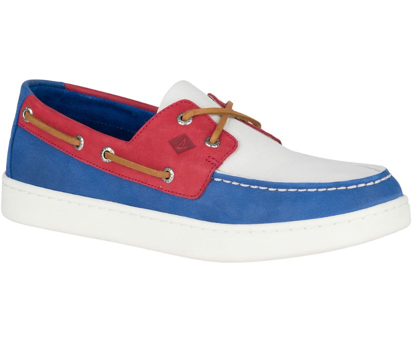 Sperry Cup Boat Shoe, Red, White, Blue, dynamic