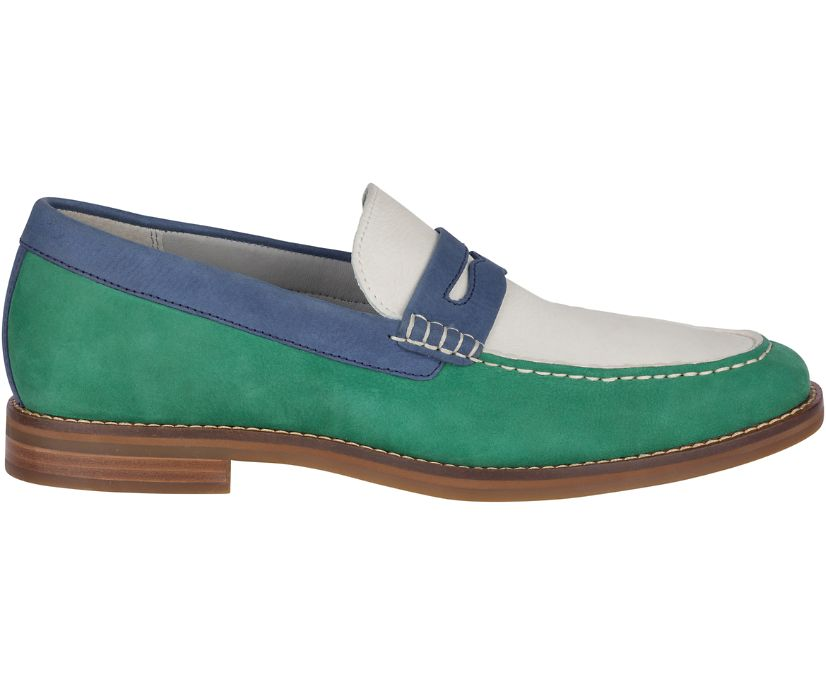 Gold Cup Exeter Tri-Tone Penny Loafer, Kelly Green/White/Navy, dynamic