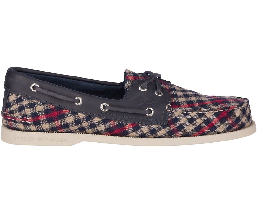 Authentic Original Tailored Boat Shoe, Navy/Red, dynamic