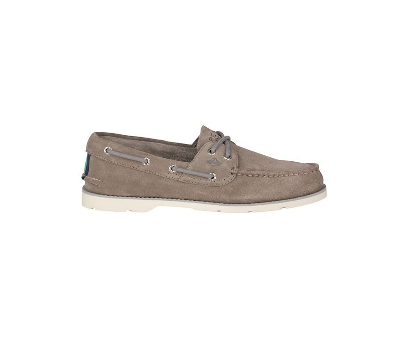 Leeward 2-Eye Suede Boat Shoe, Grey, dynamic