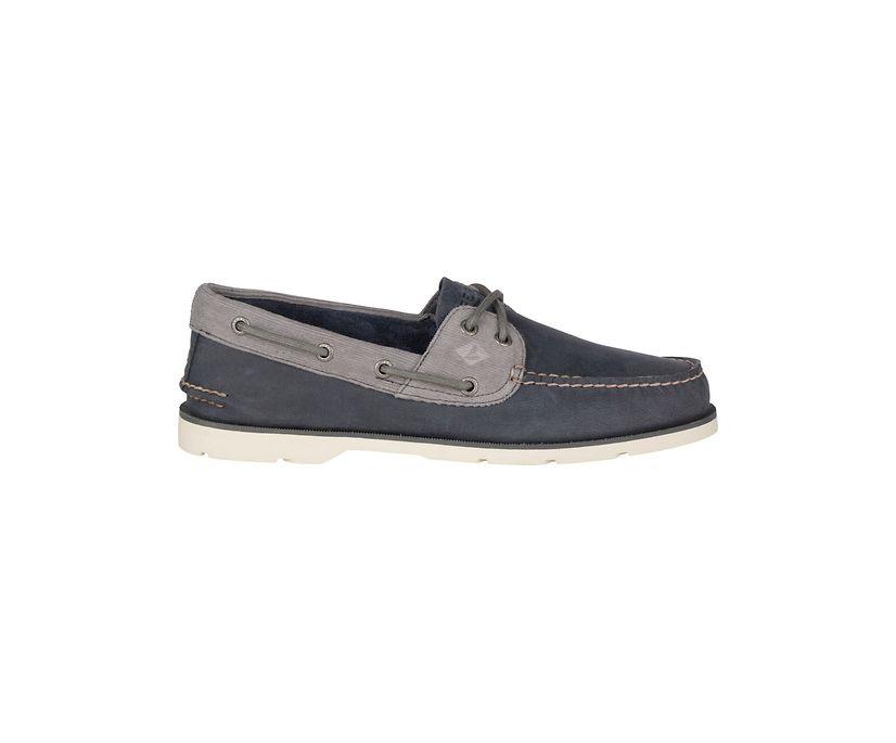 Leeward 2-Eye Corduroy Boat Shoe, Navy/Grey, dynamic