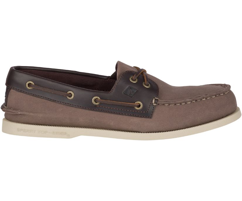 Authentic Original Waxed Canvas Boat Shoe, Brown, dynamic