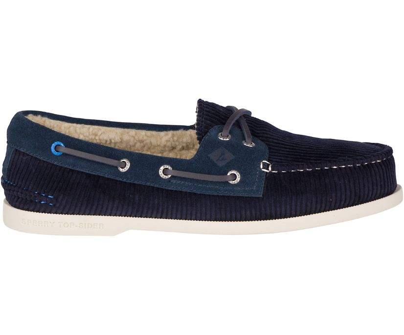 Authentic Original Plush Corduroy Boat Shoe, Navy, dynamic