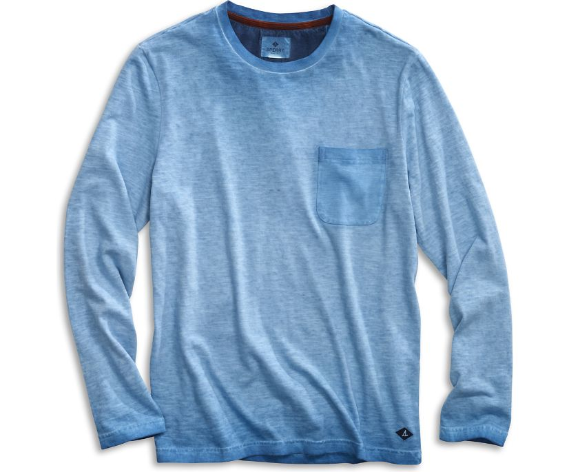 Long Sleeve Garment Dyed Pocket T-Shirt, Deepwater, dynamic