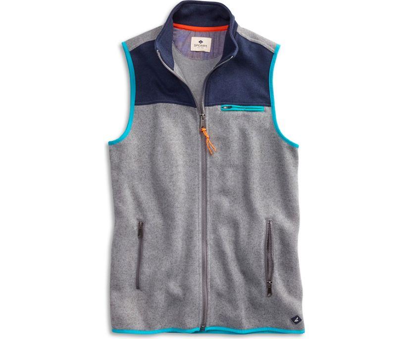 Fleece Full Zip Vest, Heather/Navy, dynamic