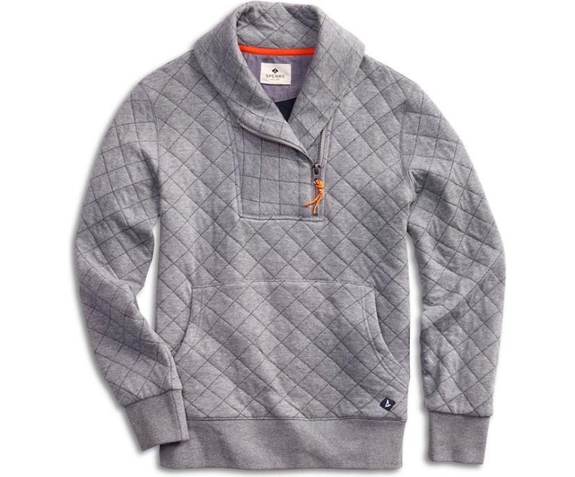 Novelty Shawl Collar Sweatshirt, Grey, dynamic