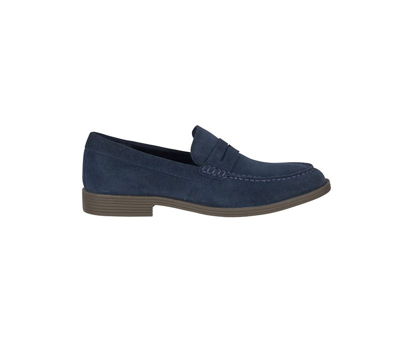 Manchester Suede Penny Loafer, Navy, dynamic