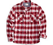 Flannel Button Down Shirt, Red, dynamic
