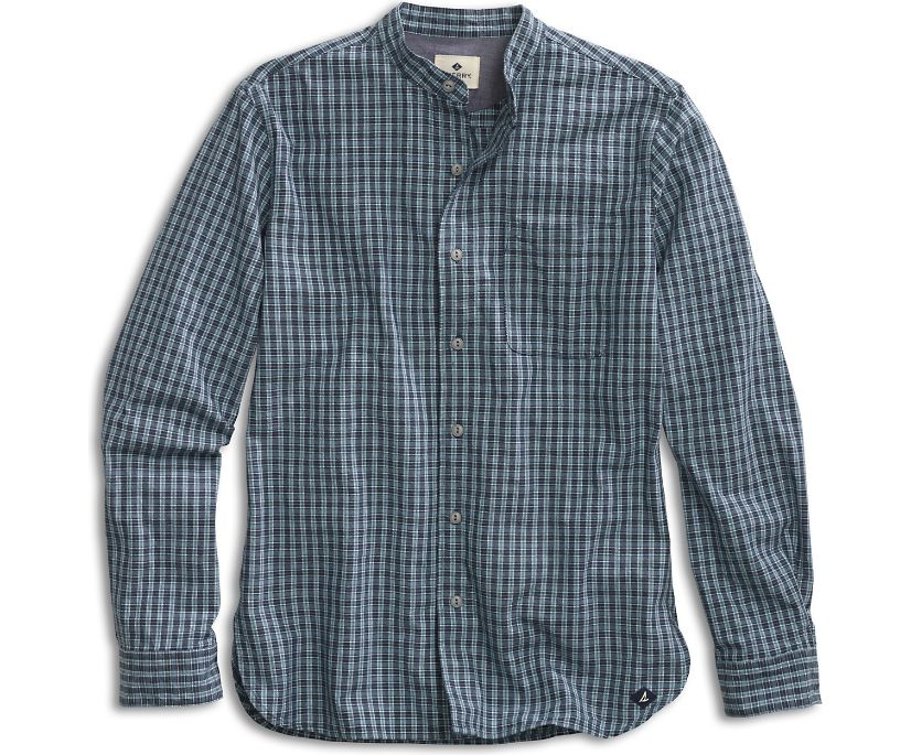 Banded Collar Button-Down Shirt, Multi Plaid, dynamic