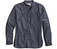 Banded Collar Button-Down Shirt, Chambray, dynamic