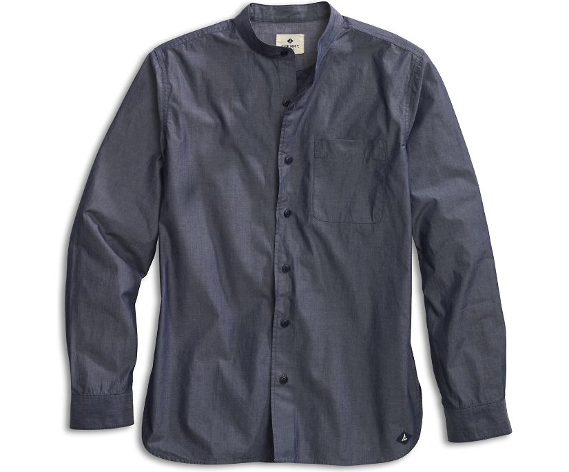 Banded Collar Button-Down Shirt, Chambray, dynamic