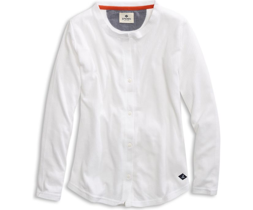 Button Front Thermal T-Shirt, White, dynamic